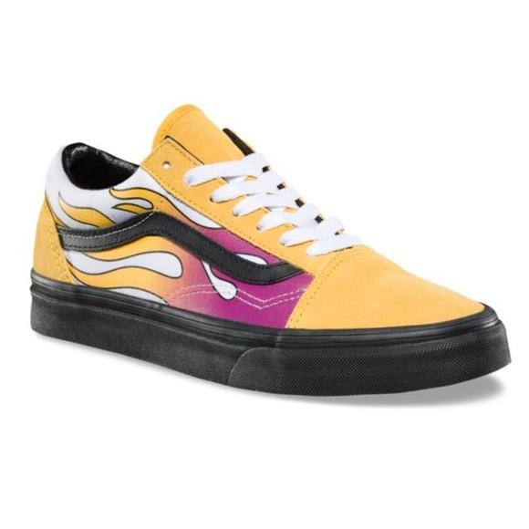 Vans old skool flame yellow sneaker shoes banana NWT